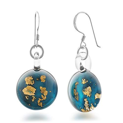 - 925 Sterling Silver Hand Blown Venetian Murano Glass Golden Stardust Blue Sky Dangle Earrings