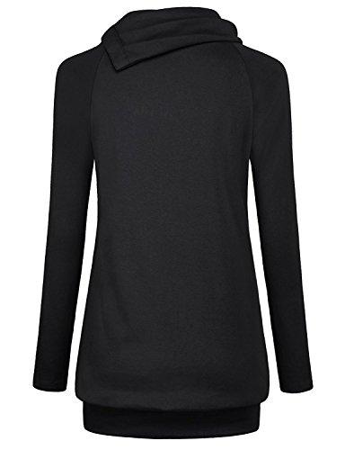 David Salc Stylish;nice Womens Raglan Long Sleeve Cowl Neck Pullover Casual Tunic Sweatshirts with Pockets BlackXX-Large