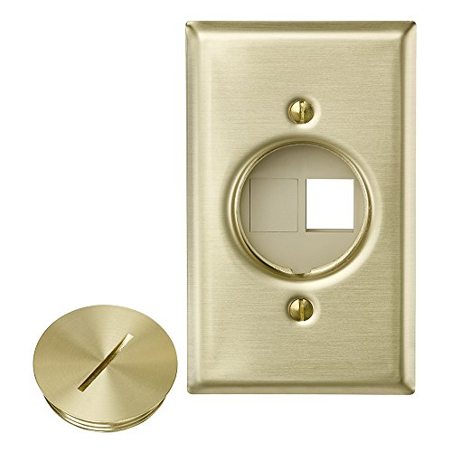 Leviton 41652 QuickPort Floor Jack Assembly, Two Blank Inserts, Solid Brass