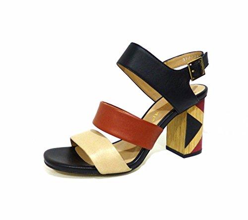 Bruno Premi K1401p - Sandalias de vestir de Piel para mujer multicolor nero beige mattone