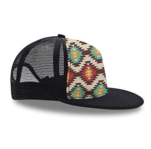 (Hip Hop Cap,American Native Pattern, Snapback Hat Unisex Trucker Hat Plaid Flat Bill Brim Adjustable Baseball Cap)