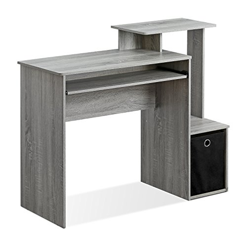(Furinno 12095GYW Econ Multipurpose Home Office Computer Writing Desk with Bin French Oak Grey French Oak)