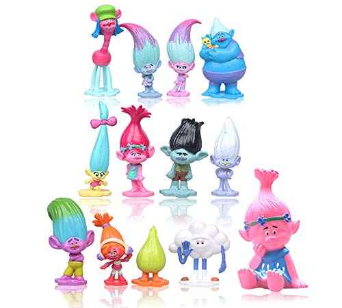 - Max Fun Set of 13pcs Trolls dolls, 3-6cm Tall Movie Trolls Action Figures Cake toppers