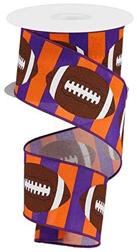 Football Striped Wired Ribbon - 10 Yards (Purple, Orange, 2.5