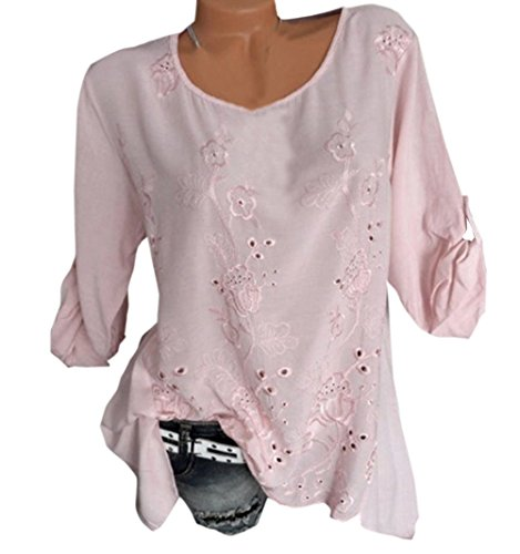Longues Fashion Chemisiers Manches pissure Rond Broderie Blouse Automne Tops JackenLOVE et Casual Shirts Tee Hauts Col Printemps Femmes Rose HwXHax8q