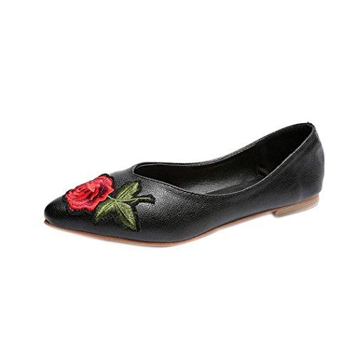 Hunpta Frauen Blumen Flats Slip Stoff Casual Schuhe Spitz Zeh Hochzeit Arbeit Schuhe Schwarz
