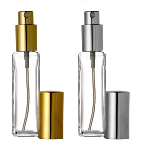 2 Riverrun Perfume/Cologne Atomizers, Slim Glass Bottle, Gold and Silver Sprayer 1 oz 30ml (2 Bottles: 1 of each color)