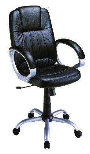 STANFORD Silla giratoria para estudio despacho o escritorio con ruedas, ideal para teletrabajo.Silla de oficina giratoria con gas cromada,polipiel negra imitacion cuero y mecanismo basculante
