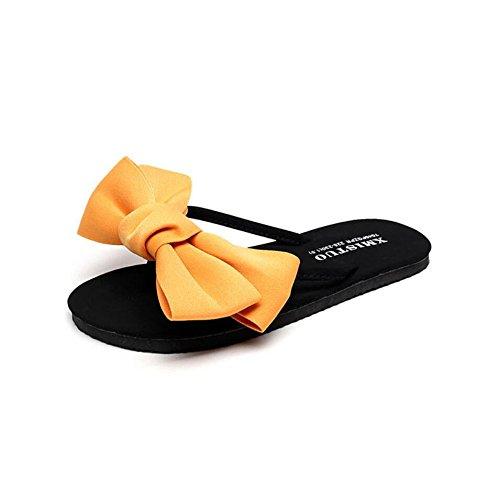 Élégantes Sandales Plates Plage D'été Pantoufles Sandales de Sandales des Femmes Chaussures Boucles Sweet Tongs CHENGXIAOXUAN Romaines Yellow Nouvelles Portent qxBfWn5z