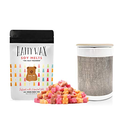 Happy Wax - Classic Wax Warmer & Wax Melts Gift Kit - All Natural Scented Soy Wax Melts Infused with Essential Oils! Perfect Wax Warmer and Wax Melt Gift Set! (Savory Mix, Gray Linen Warmer)