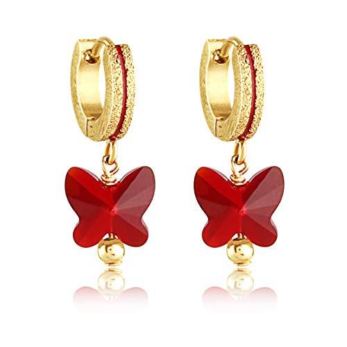 - Stainless Steel Baby Girl Earrings - Gold Coated 8mm Huggie Swarovski Crystal