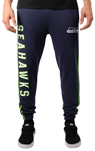 NFL Men's Seattle Seahawks Jogger Pants Active Varsity Stripe Fleece Sweatpants, Medium, (Blue Seattle Seahawks Jacket)