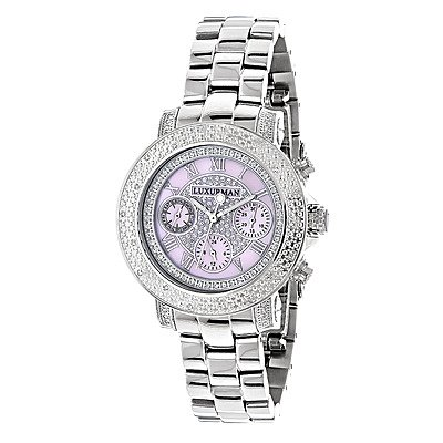 Luxurman Ladies Diamond Watch 0.30ct Pink