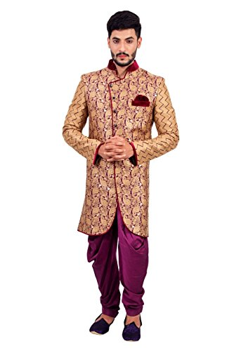 Natural Jute and Purple Indian Wedding Indo-Western Sherwani for Men by Saris and Things