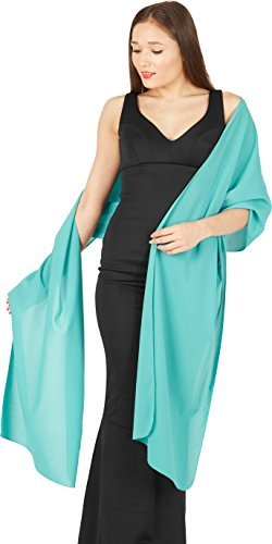 BlackButterfly Chiffon Bridesmaid Wedding Evening Shawl Wrap (Aqua Blue) - Aqua Blue Chiffon