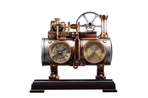 Lares Domi Vintage Style Antiqued Fertig ruhige Bewegung Steam Engine Dekorative Kaminuhr mit Thermometer