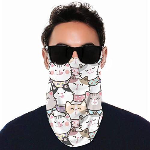 フェイスカバー Uvカット ネックガード 冷感 夏用 日焼け防止 飛沫防止 耳かけタイプ レディース メンズ Cute Cartoon Cat