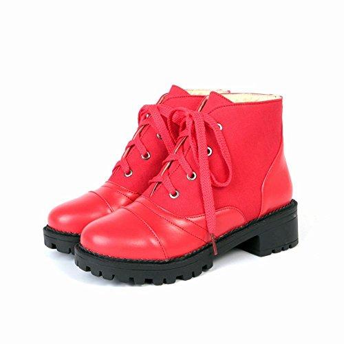 Mee Shoes Damen chunky heels Plateau Schnürsenkel Stiefel Rot