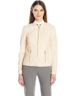 Calvin Klein Women's Faux Leather Zip Front Jacket
