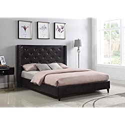 """Home Life Premiere Classics Leather Dark Brown Tufted with Nails Leather 51"""" Tall Headboard Platform Bed with Slats Full - Complete Bed 5 Year Warranty Included 007"""