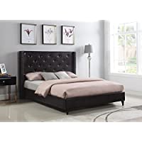 Home Life Premiere Classics Leather Dark Brown Tufted with Nails Leather 51 Tall Headboard Platform Bed with Slats Queen - Complete Bed 5 Year Warranty Included 007