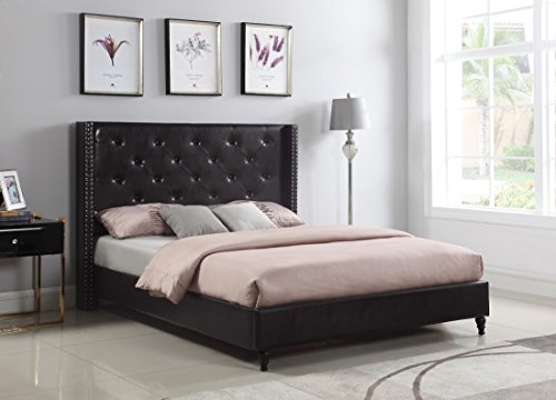 "Home Life Premiere Classics Leather Dark Brown Tufted with Nails Leather 51"" Tall Headboard Platform Bed with Slats Full - Complete Bed 5 Year Warranty Included 007"