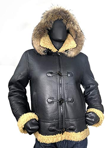 - Men B-3 Genuine Shearling Leather Bomber Jacket Winter Aviator Coat Real Fur Hood and Wood Toggle Closure (Large, Lavado)
