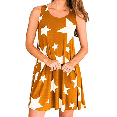 Tantisy ♣↭♣ Women's Summer Casual T Shirt Dresses Star Print Sleeveless Beach Cover up Plain Tank Dress Orange