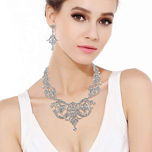 1920s Gatsby Jewelry- Flapper Earrings, Necklaces, Bracelets EVER FAITH Bridal Silver-Tone Art Deco Flower Leaf Necklace Earrings Set Clear Austrian Crystal $32.99 AT vintagedancer.com
