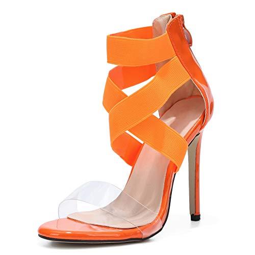 Women's Cross Ankle Strap Clear Stiletto High Heel Dress Sandals Orange EU40