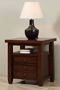 Navigator Walnut Cherry End Table. This Beautiful Living Room Furniture  Features 3 Drawers And Shelf Space For Storage.