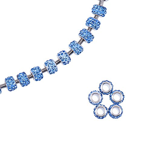 NBEADS 100 Pcs Polymer Clay Crystal Rhinestone European Beads Large Hole fit Charm Bracelet,Light Sapphire,11~12mm in Diameter,7~7.5mm Thick, Hole: 5mm (Large Light Hole)