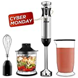Betitay Immersion Blender, 4-In-1 Handheld Immersion Mixer for Smoothie & Juice, Variable Speed+Turbo Control,Stainless Steel Blending Rod & Blade, One Set with Whisk, Chopper, 24OZ Cup with Lid