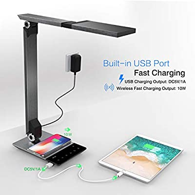 MoKo Metal LED Desk Lamp with QC 3.0 10W Wireless Charger, 5V 1A USB Charging Port, Rotatable Home Office Light with Stepless Brightness/CCT, Touch Control, Custom Light Mode, Memory Function, Timer
