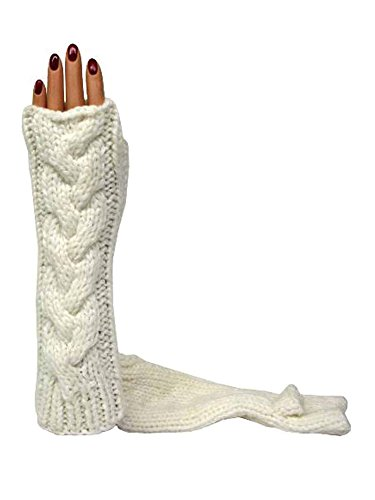 Ivory Long Thick Cable Knit Arm Warmer Gloves by Luxury Divas (Image #1)