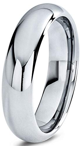 Charming Jewelers Tungsten Wedding Band Ring Grey 6mm Men Women Comfort Fit Dome Polished Size 8 by Charming Jewelers