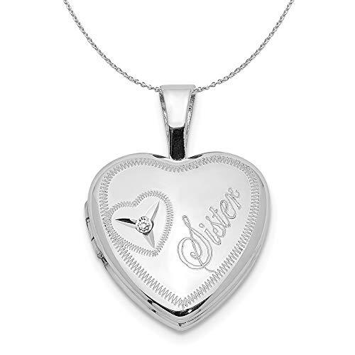 12mm Sister Diamond Heart Locket in Sterling Silver Necklace - 18 Inch