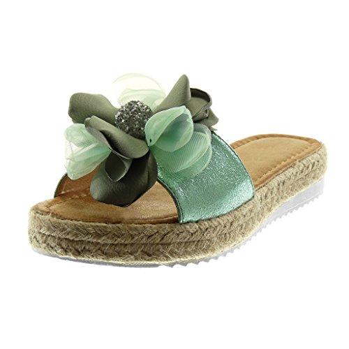 Angkorly Damen Schuhe Mule Sandalen - Slip-On - Plateauschuhe - Blumen - Strass - Seil Keilabsatz High Heel 3 cm Wassergrün