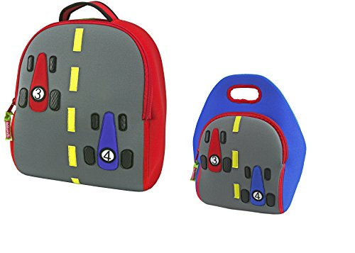 Dabbawalla Bags Fast Track Car Kids Preschool Toddler Backpack and Lunch  Bag Set  0bc6f130afb57