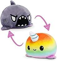 TeeTurtle | The Original Reversible Shark + Narwhal Plushie | Patented Design | Gray + Rainbow | Happy + Rage