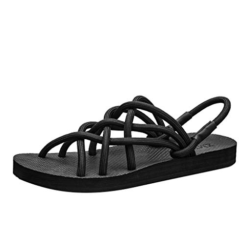 2019 New Women's Sandals Summer Couples Flat Shoe Cross Belt Beach Anti-Slip Toe Post Roman Beach Sandals ()