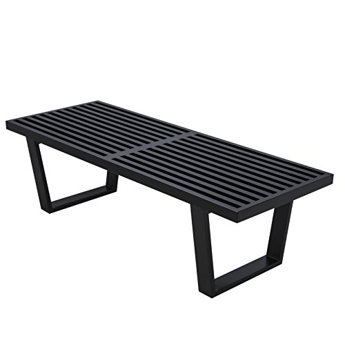 Leisuremod Mid-Century George Nelson Style Platform Bench - 4 Feet (Black Wood) (Outdoor Furniture Table Replica)