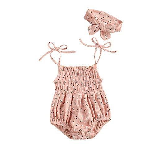 LUCSUN 2 Stks Pasgeboren Baby Meisjes Kleding Mouwloos Bloemen Romper Bodysuit Een Stuk Jumpsuit Hoofdband Zomer Outfits
