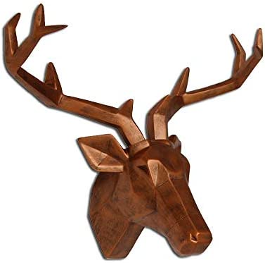 Keygift Deer Head Wall Decor Geometrical Antique Copper Deer Antler Sculpture Faux Resin Animal Head Statue Wall Hanging Centerpiece Ready to Hang- 20×16.5×10 Inches