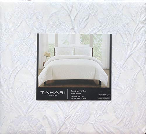 (Tahari Home 3pc Duvet Set Raised Embroidered Floral Damask Pattern Birds in White Thread on Cream/Off-White Comforter Quilt Cover 100% Cotton Luxury - Charleston, Winter White)