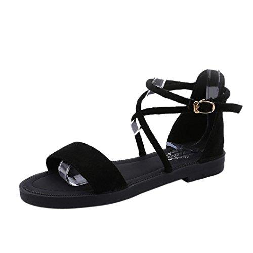 Straps Flat Summer erthome Toe Cross Open New Sandals Wedge Buckle Women Sandals Low Heel Black IRwwUxT