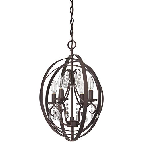 Crystal Chandelier Light Eighteen - Stone & Beam French Country Orb Crystal Ceiling Chandelier With Light Bulbs - 18 x 18 x 21 Inches, Oil Rubbed Bronze