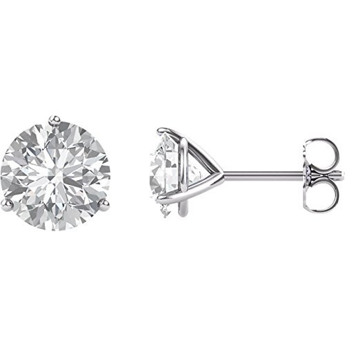 14k White Gold Martini 3 prong post earrings Forever ONE Moissanite solitaire