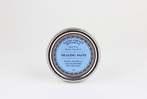 Vegan Herbal Healing Salve With Comfrey Calendula Chamomile Infused Oils 1 oz - Organic Ingredients - Botanical First Aid With No Preservatives
