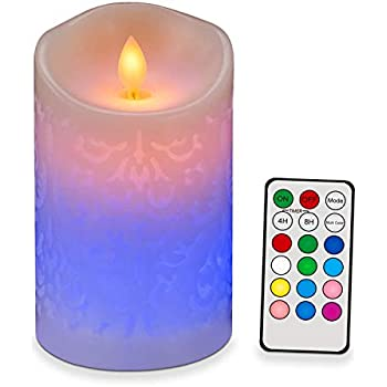 Moving Wick Flameless Candle Real Pillar Wax 6inch Tall Battery Operated LED Candle with 18-Key Remote Timer, Realistic Flame Carved Design, Ivory 12 Color